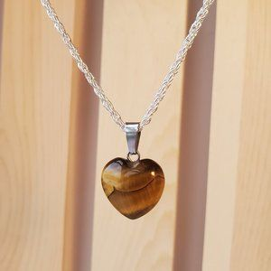 """Tigers Eye Gemstone Necklace, silver plated 24"""""""